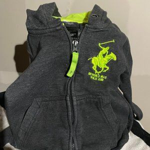 Beverly Hills Polo Hoddie in Grey Size 4 with yellow fluo logo